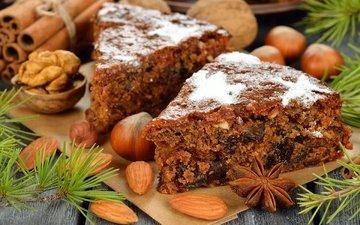 орехи, корица, рождество, сладкое, выпечка, торт, десерт, пирожное