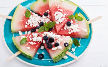 mint, watermelon, berries, slices, blueberries
