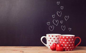 кофе, кружки, любовь, чай, сердечки