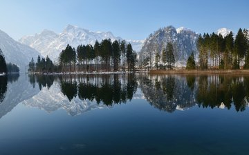 trees, lake, mountains, nature, forest, reflection