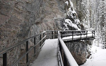 trees, mountains, snow, nature, forest, winter, bridge