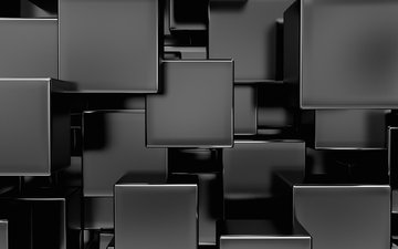 black and white, cubes, squares, 3d