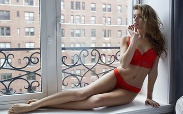 girl, look, model, hair, face, window, red lingerie, brown hair, daniela lopez osorio