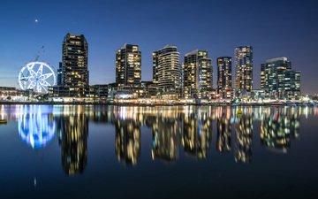 ночь, огни, отражение, город, австралия, мельбурн, boyloso