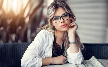 girl, blonde, look, glasses, watch, model, hair, face, alessandro di cicco