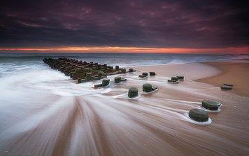 wave, landscape, sea, beach, surf