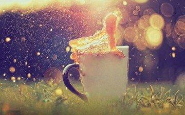трава, брызги, кружка, всплеск, чай