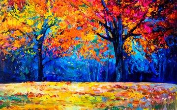 арт, деревья, листья, пейзаж, осень, живопись