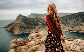 blonde, skirt, model, sweater, long hair, braids, closed eyes, georgy chernyadyev