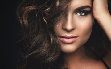 девушка, фото, взгляд, макияж, прическа, модель.локоны