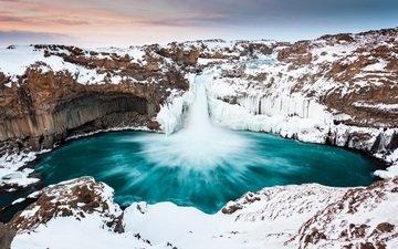 зима, водопад, исландия