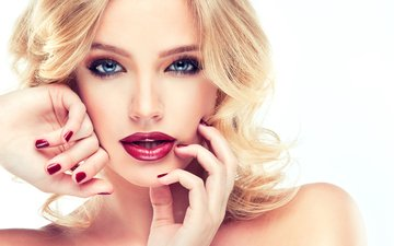 blonde, look, hair, face, hands, makeup, hairstyle, 1, photoshoot, gesture
