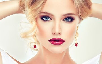 girl, blonde, model, hands, blue eyes, makeup, hairstyle, lipstick, eyelashes, photoshoot, earrings