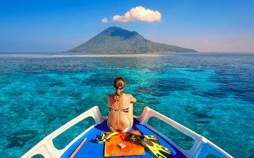 девушка, море, яхта, остров