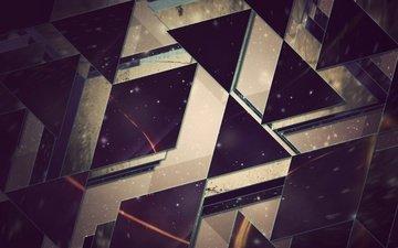 абстракция, звезды, геометрия, треугольники