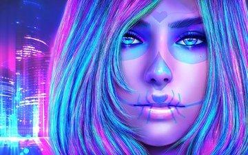 арт, девушка, красота, лицо, make up, 1взгляд, sugar skull, dia delos muertos