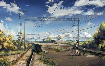 art, railroad, the bushes, schoolgirl, stage, platform