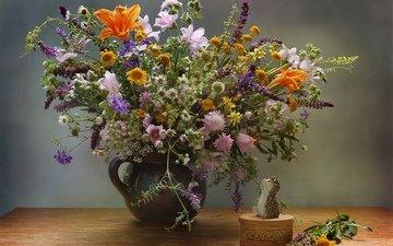 цветы, ромашки, букет, ваза, ежик, полевые цветы, шкатулка
