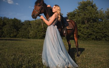 the sky, horse, grass, trees, girl, dress, blonde, model, mane, dmitry sn