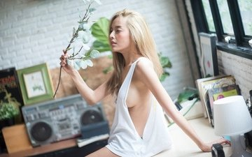 девушка, поза, цветок, модель