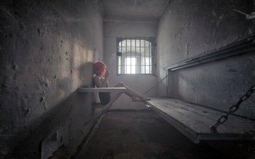 girl, prison, camera