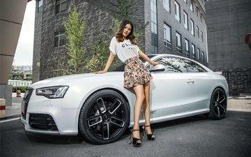 девушка, взгляд, модель, фигура, азиатка, ауди, белый авто