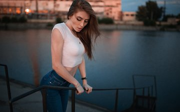 girl, brunette, model, jeans, hair, face, dmitry sn