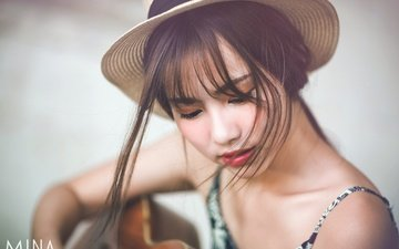 girl, background, portrait, guitar, look, hair, face, hat, asian