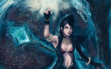 girl, look, dragon, staff, magic, games, dragon age, gesture, morrigan, video games