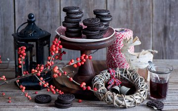 new year, lantern, berries, tea, christmas, wreath, cookies, cakes, year, still life