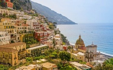 the sky, mountains, sea, horizon, coast, home, italy, amalfi, positano