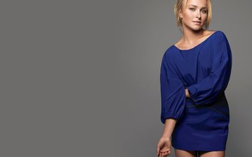 girl, blonde, look, hair, hayden panettiere, face, actress, singer, blue dress