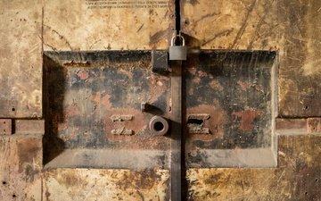 металл, дерево, замок, дверь