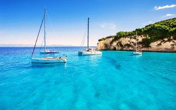 sea, yachts, island