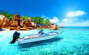 море, лодка, остров, тропики, сейшелы