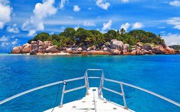 море, пляж, яхта, остров, тропики, сейшелы