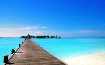 sea, beach, yachts, island, tropics, the maldives