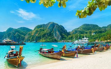 sea, beach, boats, thailand, tropics