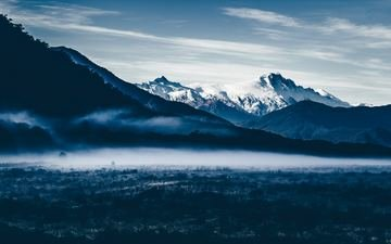 the sky, clouds, mountains, nature, fog