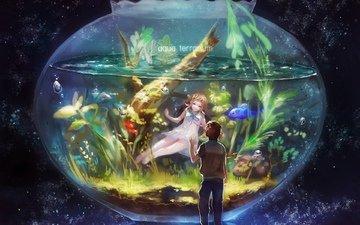 небо, звезды, рыбки, аквариум, двое, пузырьки, водоросли