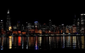 night, lights, reflection, the city, skyscrapers, megapolis, chicago