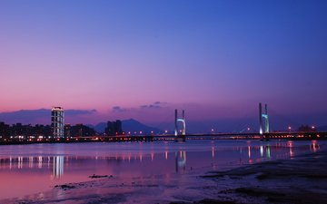 clouds, lights, river, reflection, city, bridge, taipei, taiwan, china, sky, night, purple