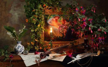 flowers, picture, drink, violin, lilies of the valley, glass, pen, still life, eel, fuchsia, andrey morozov