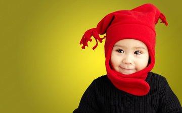 улыбка, портрет, взгляд, дети, лицо, ребенок, шапка, мальчик