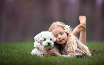 grass, nature, summer, dog, girl, child, animal, closed eyes, egle ruth