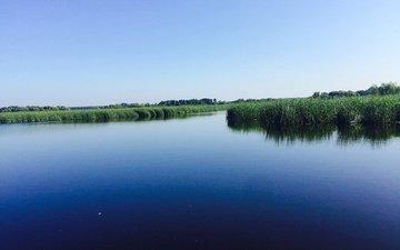 небо, трава, река, природа, горизонт, aristovart