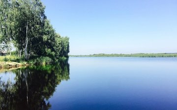 небо, деревья, река, природа, отражение, березы, aristovart