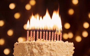 candles, glare, sweet, birthday, cake, dessert, happy birthday