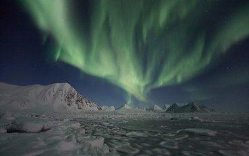 снег, природа, зима, пейзаж, сияние, северное сияние
