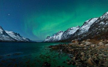 озеро, горы, природа, зима, пейзаж, сияние, северное сияние, норвегия